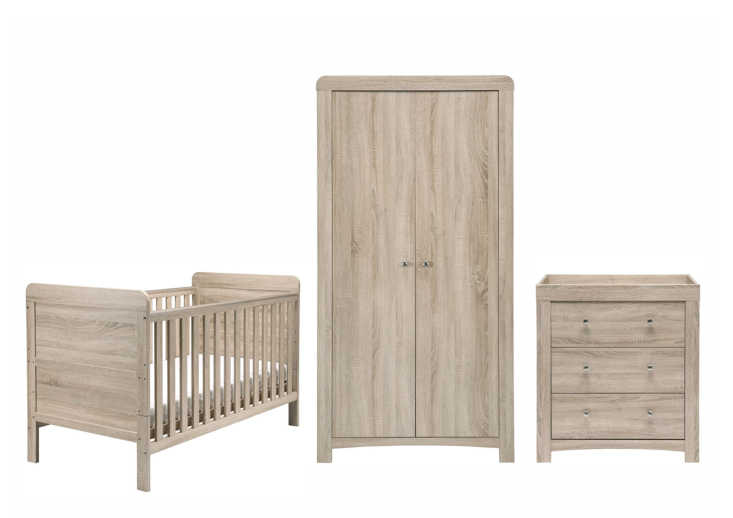 East Coast Nursery Fontana Roomset East Coast Nursery Ltd Roomset includes, cotbed, dresser and wardrobe Washed-wood effect Cotbed has 3 base heights and 2 fixed sides 1