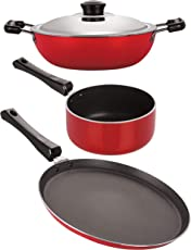 Nirlon Non-Stick Aluminium Stain Resistance Non-Induction 3 Piece Cookware Combo Set Offer with Premium Quality