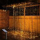 OxyLED Led-lichtgordijn, 3 m x 3 m, 300 solar-lichtgordijn, IP65 waterdicht, 8 modi, decoratief voor Kerstmis, binnen en buit