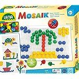 Lena 35604 - Mozaïekspel met 80 pinnetjes, gekleurde steekknopjes Ø 15 mm, mozaïek met voorbeelden, steekplaat 21 x 16 cm, st