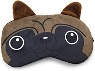 24x7 eMall Fabric Cute Dog Blindfold Eyes Cover for Proper Sleep (Brown, Eye-Pad 02 Panda Eyes 24x7 eMall) - Pack of 1