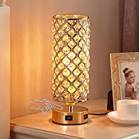 Touch Control USB Crystal Table Lamp, Aooshine Dimmable Gold Bedside Lamp with Dual USB Charging Ports, 3 Way Dimmable…