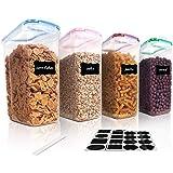 Vtopmart 4L Grands Boite de Conservation Alimentaire sans BPA pour Cuisine Pantry, Ensemble De 4 + 24 Étiquettes, pour Céréal