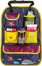 Mias Rücksitztasche, bunt bedruckt mit vielen Fächern, wasserabweisend, ideal als Reisebegleiter für Kinder - mit 2 Jahren Geld-zurück-Garantie - Autositz-Organizer/Rückenlehnen-Schutz/Kick Mat
