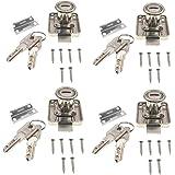 JZK 4 x Meubelslot Cilinder met dezelfde sleutels, Garderobe Lock Lade Lock Kast Deur Lock Met Sleutel