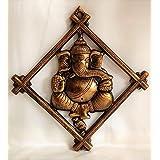 Akriti Brass Art Wares Metal Lord Ganesha Square Frame Wall Hanging Showpiece for Entrance Door, Living Room Metal Decorative