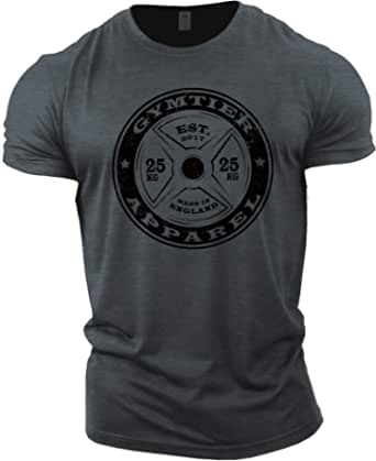 GYMTIER Mens Bodybuilding T-Shirt Barbell - Gym Training Top
