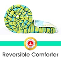 Divine Casa Microfiber Comforter/Blanket/Quilt/Duvet Lightweight, All Weather Single Comforter, Abstract- Green and Blue