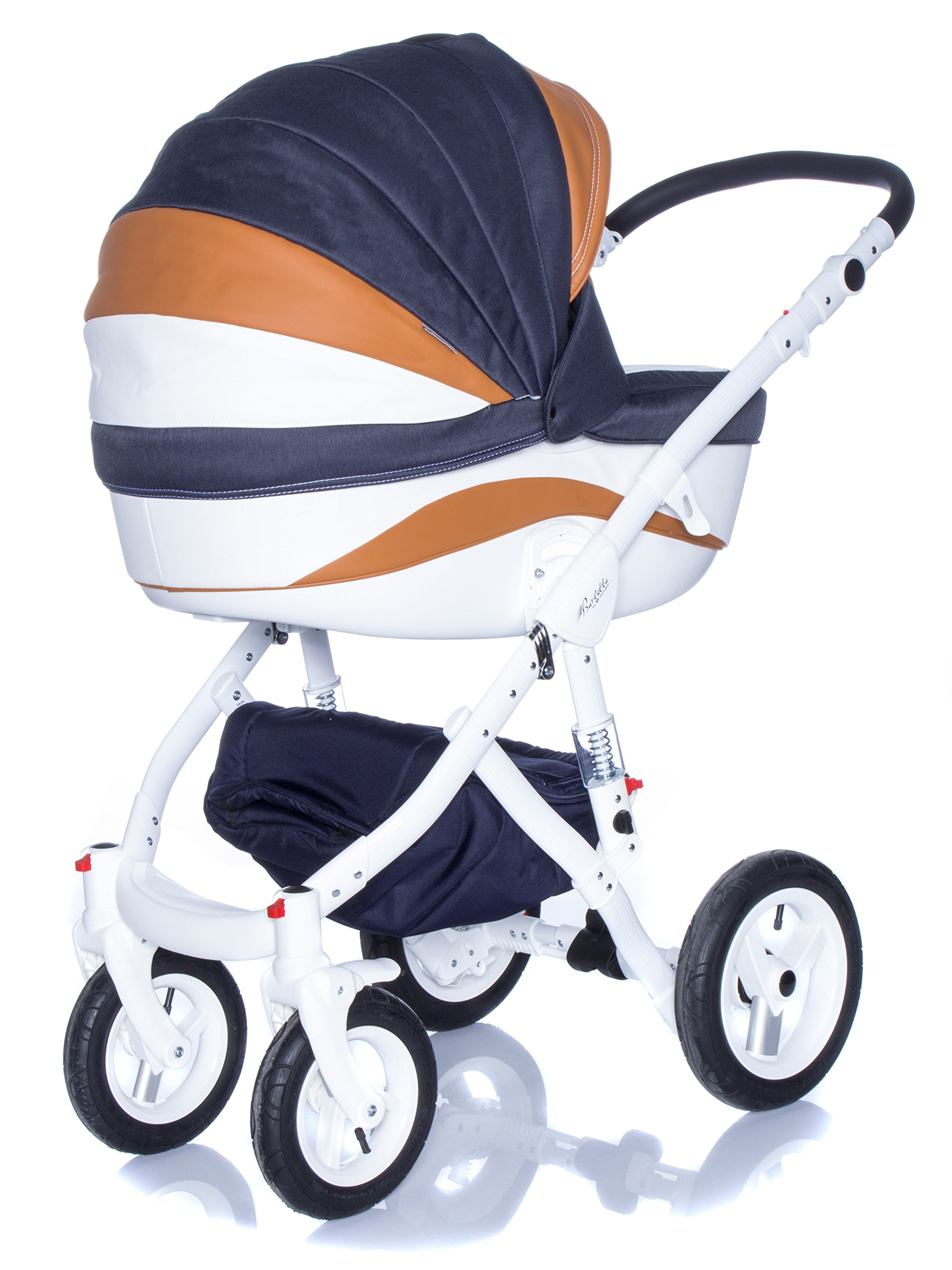 Baby Pram Pushchair Stroller Buggy, Travel System Adamex Barletta New B7 Fox-Navy-White 2in1 + ADAPTORS for CAR Seats: Maxi-COSI CYBEX KIDDY Be Safe Adamex Lockable swivel wheels and lockable side suspension system Light alluminium chassis with polyurethane wheels 2 separate modules + car seats adapters - big and deep baby tub functional sport seat and car seats adapters that can be attached to the following car seats: Maxi-Cosi: City, Cabrio fix, Pebble Cybex: Aton Kiddy: Evoluna i-Size, Evolution Pro 2 Be Safe: iZi Go 3