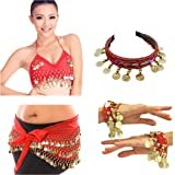 Vritraz Women's Chiffon Belly Dance Hip Waistband 1 Scarf, 1 Top, 1 Headband, 1 Handcuff with Ringy Golden Coins (Pack of 4)