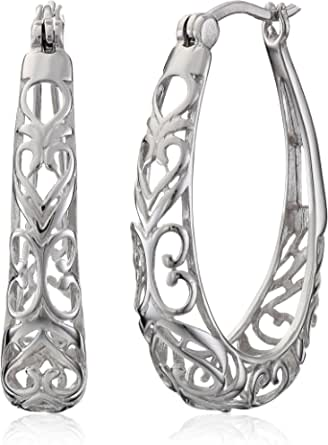 Orecchini a cerchio in filigrana in argento Sterling.