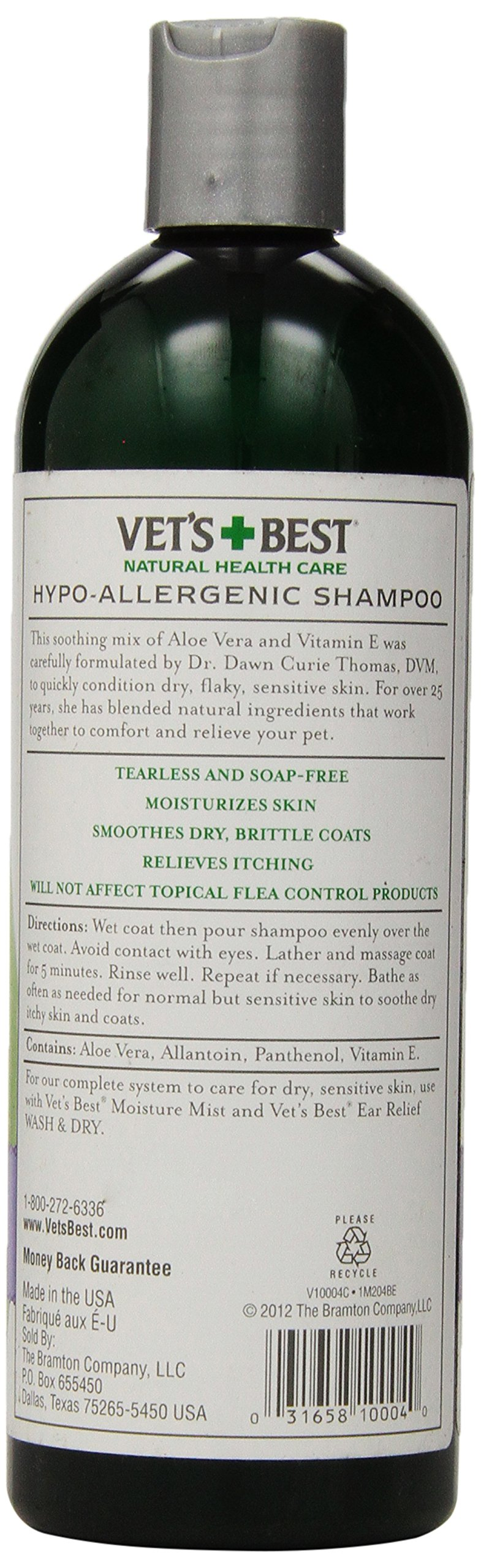 Vet's Best Hypo-Allergenic Shampoo for Dogs with Sensitive Skin, Relieves Discomfort from Dry, Itchy Skin, Cleans, Moisturizes, and Conditions Skin and Coat, 470 ml