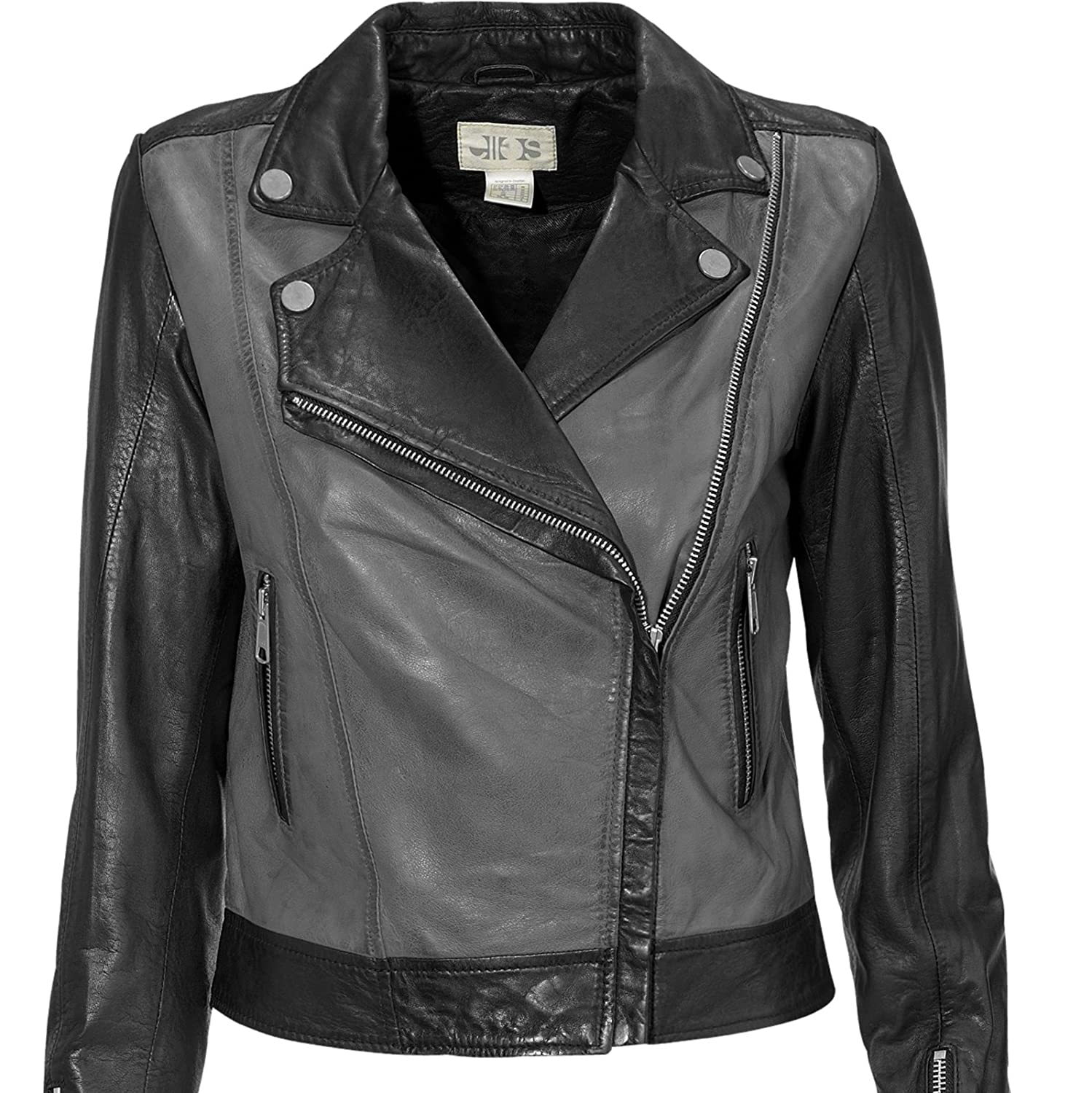 CLEARANCE Biker Jacket Women 100% Real Leather in Black and Grey ...