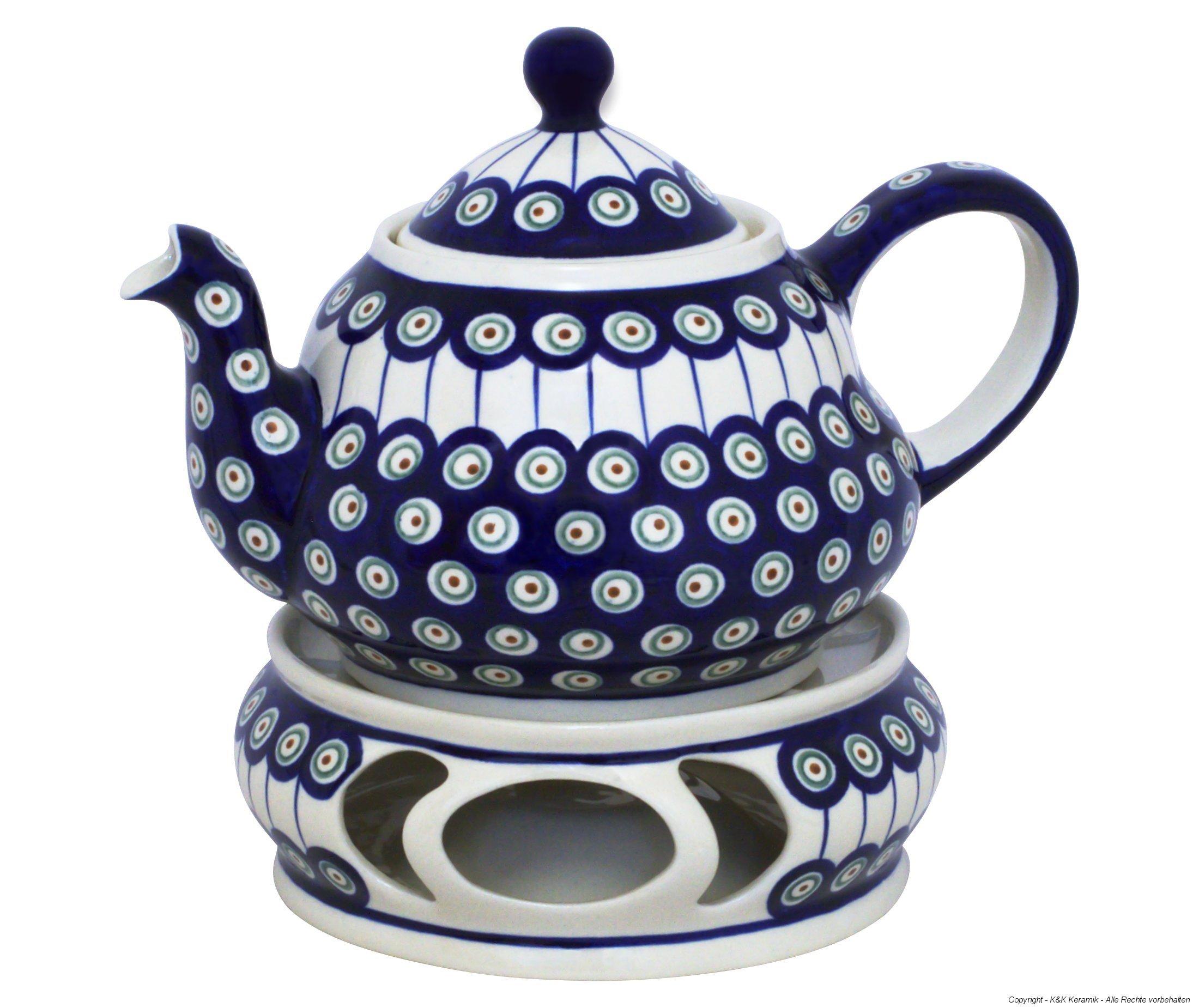 Boleslawiec Pottery Teepot 2.0 L with Warmer, Original Bunzlauer Keramik, Decor 8