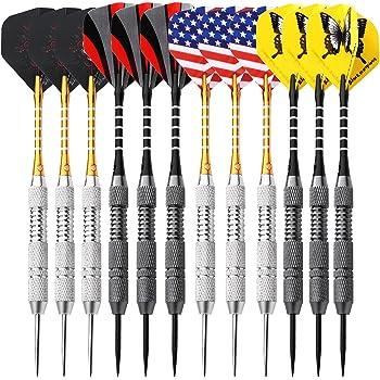 Rose Kuli Dartpfeile 24 Gramm Dart Metallspitze Steel Darts Set mit Veschiedenen Flights Aluminum Schafts Messing Barrels