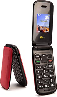 TTsims - Flip TT140 Mobile Phone - Camera - Bluetooth - Cheapest Flip Folding Clamshell Phone (Red/Pink)