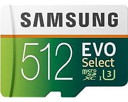 Samsung EVO Select 512 GB microSD 100 MB/s, velocidad Full HD & 4K UHD tarjeta de memoria incluye adaptador SD para smartphon