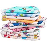 Fareto Born Baby Double Layer 12 Cotton Nappies/Tying Langots/Cloths Nappies(Assorted)(Double Layer Cotton) (0-3 Months)