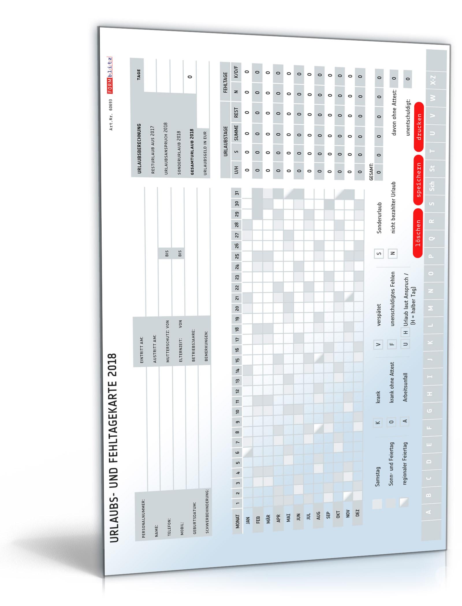 Urlaubs- und Fehltagekarte 2018 - Excel [Download]