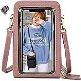 Handy Umhängetasche Damen, Touchscreen Tasche Kleine Crossbody Schultertasche Brieftasche Handtasche, 3 Reißverschluss Beutel