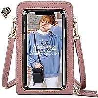 Handy Umhängetasche Damen, Touchscreen Tasche Kleine Crossbody Schultertasche Brieftasche Handtasche, 3 Reißverschluss…