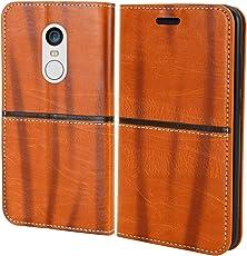 For Mi Redmi Note 5 - Unistuff® Impact Resistant Wallet Folio Flip Cover with [1 Debit/Credit Card slot][Anti-Slip Design][Drop Protection] for Mi Redmi Note 5 (Walnut Brown, Artificial Leather, 360* Protection)