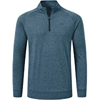 AjezMax Men's 1/4 Zip Long-Sleeve Running Top Lightweight Pullover Quick Dry Athletic Gym Workout Fitness T-Shirt