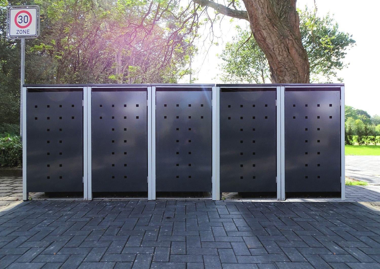 1 Mülltonnenbox ohne Stanzung Anthrazitgrau für 120 Liter Mülltonnen / witterungsbeständig durch Pulverbeschichtung / mit Klappdeckel und Fronttür