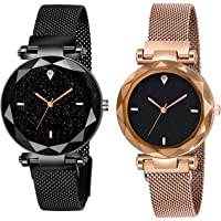 Shunya Black Round Diamond Dial with Latest Generation Black & Rosegold Magnet Belt Analogue Watch for Women Pack of - 2…