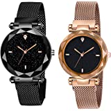 Shunya Black Round Diamond Dial with Latest Generation Black & Rosegold Magnet Belt Analogue Watch for Women Pack of - 2 (SH-