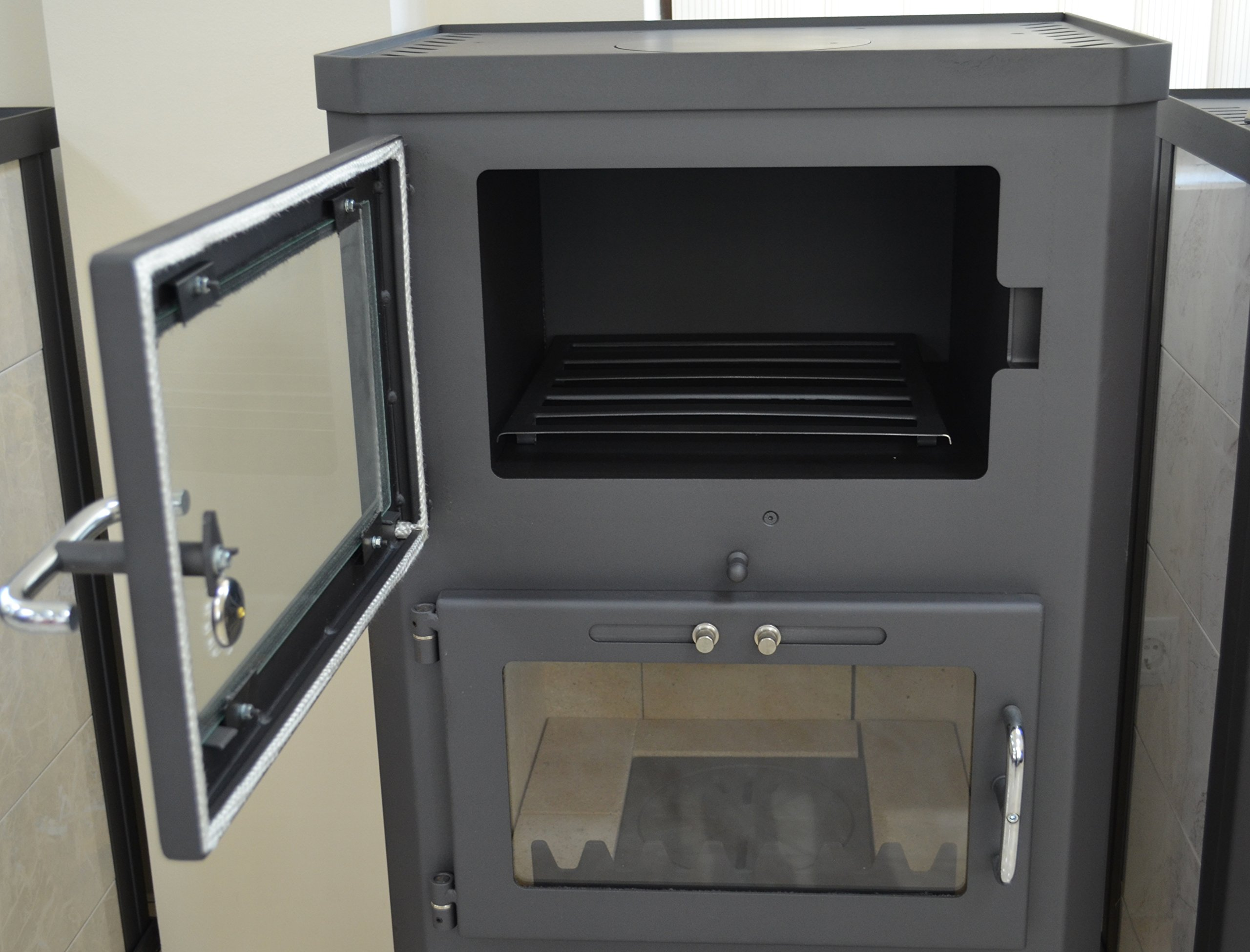81EdaNR 9ML - Estufa de leña para estufa, estufa, cocina, combustible, quemador de leña, 12/17 kW, BImSchV 2