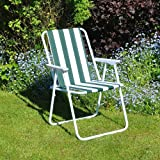 Unibos Outdoor Deck Chair Garden Patio Folding Camping Picnic Beach BBQ Party Outdoor Stripe Chair