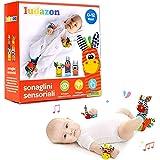 LUDAZON Sonaglini Sensoriali per lo sviluppo delle capacità intellettive, Giochi Neonato Montessori, Sonaglio in Morbido Pelu