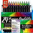 Set feutres pinceaux HAUTE QUALITÉ I 24 Brush Pens pour calligraphie à la main I 2 pinceaux réservoir eau I 15 feuilles Aquar
