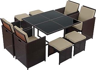 Mendler Poly-Rattan Garten-Garnitur Kreta, Lounge-Set Sitzgruppe