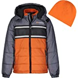 LONDON FOG Color Blocked Puffer Jacket Coat with Hat