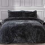Sleepdown Parure de lit en Polaire de Luxe à Poils Longs en Fausse Fourrure Gris Anthracite Super Douce et Facile d'entretien