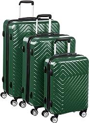 AmazonBasics – Trolley mit geometrischem Muster, 3-teiliges Set (55 cm, 68 cm, 78 cm), Grün
