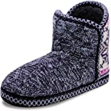 Womens Cozy Bootie Slippers Indoor Outdoor Comfy Slip-on Knitted Memory Foam Plush House Boots Slipper