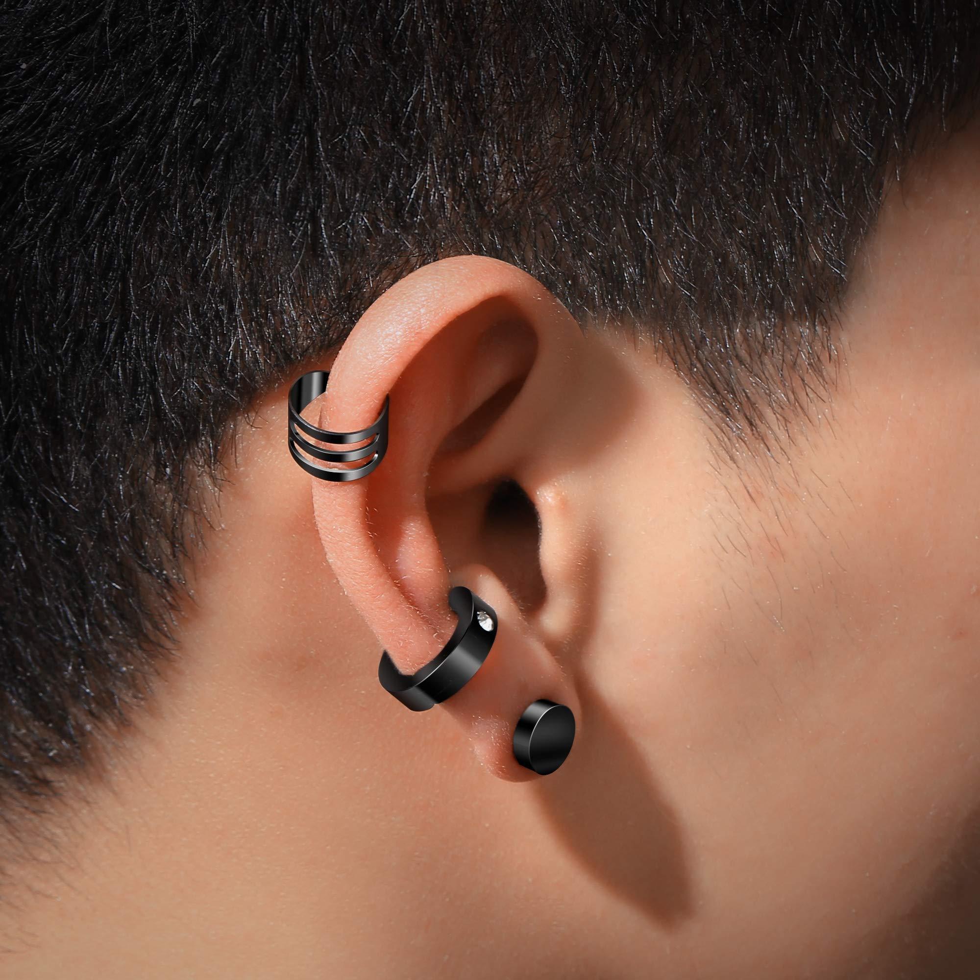 6 Pairs Unisex Stainless Steel Ear Clip Non Piercing Earrings Men Women Ear Cuff Ear Bone Clips Magnetic Cartilage Earring Cuff Studs Black Silver