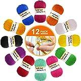 12 paquetes de lana acrílica – lana de ganchillo multicolor para tejer, paquetes de hilados de lana de ganchillo, paquetes de