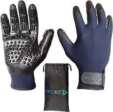 Valukit Profi Fellpflege-Handschuh (2 Stück) inkl. Nylonbeutel - Einfache Entfernung Loser Tierhaare - Massagehandschuh für Hund, Katze und Pferd