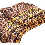 Bulary Boheemse deken gooien, 130 * 180CM puur katoen gevlochten Boho gooien dekens Sofa sprei Patchwork gebreide deken