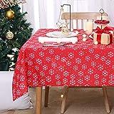 Deconovo Mantel Navidad con Motivos Copo de Nieve Rectangular 140 x 200 cm Rojo