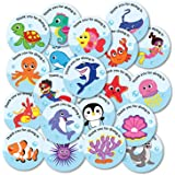 weRevel Thank You Party Stickers for Kids, Underwater Aqua Theme, 40 Pieces, 2 inches, Round, 20 Unique Designs Ideal for Gif