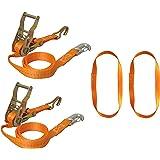 Braun 750-6-FRONT Motorrad Vorderradverzurrung, Zurrgurtset 6-teilig mit Spitzhaken und Karabinerhaken inklusive Endlosschlingen Gurtfarbe orange