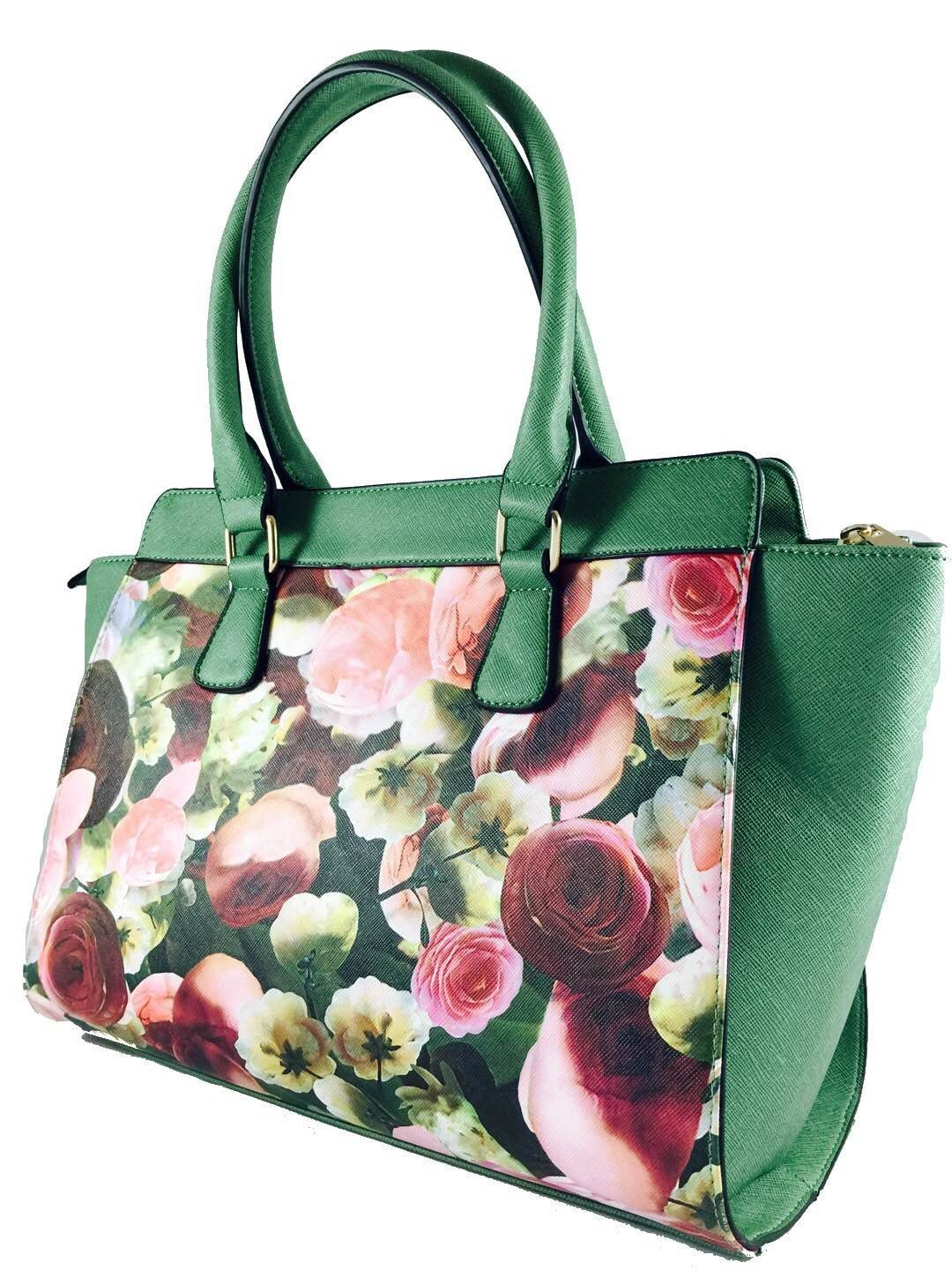 Green flower embellishment tote bag - handmade-bags
