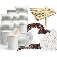 Kit d'accessoires à café composé de 150 gobelets en carton recyclables de 75 ml, 150 sachets de sucre, 150 touillettes…