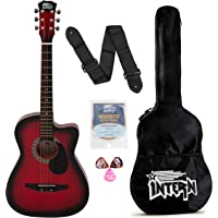 Intern INT-38C-RD-G Cutaway Right Handed Acoustic Guitar Kit, With Bag, Strings, Pick And Strap (Red, 6 Strings)