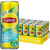 Lipton Ice Tea Sparkling ZERO, een heerlijk verfrissende ijsthee zonder suiker - 24 blikjes - 6000ML